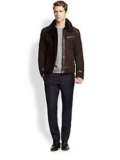 Salvatore Ferragamo - Leather-Trimmed Shearling Jacket