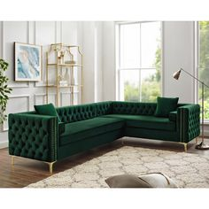 Inspired Home Green Corner Sectional Sofa Design: Giovanni Right Facing Velvet Storage Metal Legs Tufted Design Living Room Sofa Design, Living Room Furniture Layout, Sofa Furniture, Home Living Room, Interior Design Living Room, Living Room Designs, Living Room Decor, Furniture Design, Corner Sofa Design