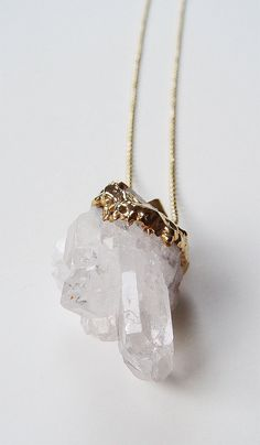 SALE Vanilla Quartz Crystal Necklace Gold Filled by friedasophie