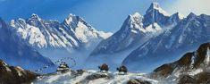 Mount Everest And Mount Ama Dablam After Tengboche Nepal Himalayas Original Painting Scenery Paintings, Mountain Paintings, Landscape Paintings, World Famous Painters, Adventure Nursery, Shiva Art, Mountain Art, Hand Art, Beautiful Paintings