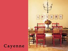 Cayenne PANTONE 18-1651  After a cold, cold winter, turn up the heat with this rich warm color.  We love the butter yellow of the walls with a pop of Cayenne in the accessories.  This luxe dining room makes of think of spring peonies!
