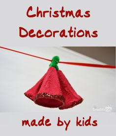 """Christmas Kids DIY;  •°•°Jingle Bell, Jingle Bell, Jingle Bell Rock Jingle bell swing and jingle bells ring Snowin' and blowin' up bushels of fun Now the jingle hop has begun""""•°•° ⛄If you're looking for easy to make Christmas Decorations (Preschool and Kindergarden), then these egg carton jingle bells might be just the thing for you!  Keep singing while Crafting !"""