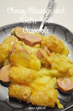 Cheesy Sausage and Tater Tot Casserole. Made with turkey sausage ...