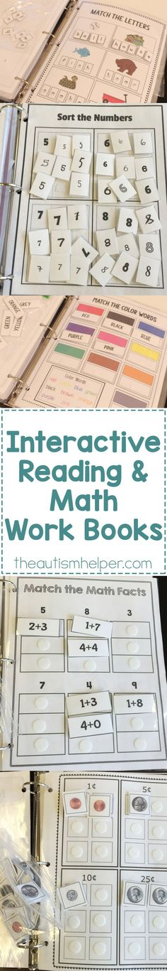 Interactive Reading and Math Work Books Our interactive Math & Language Arts Workbooks provide independent work to your students & a HUGE help as you run through the unending list of to-do's at the start of the year! Life Skills Classroom, Autism Classroom, Special Education Classroom, Classroom Activities, Learning Activities, Classroom Setup, Kindergarten Math, Teaching Math, Preschool Activities
