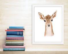 Deer Art Print Fawn Woodland Nursery Kids Wall by TinyToesDesign