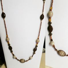 Extra Long Brown Beaded Necklace