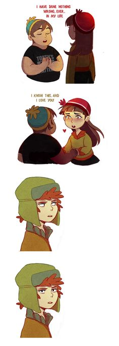 s20ep6 Kyle's like 1000% done (based on Parks and Recs' meme) <<< Kyle reminds me of Dipper Pines in this pic