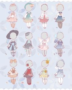 Set Price Outfits 4 (Closed) by Lyime on DeviantArt Anime Drawings Sketches, Kawaii Drawings, Cute Drawings, Manga Clothes, Drawing Anime Clothes, Cute Art Styles, Cartoon Art Styles, Mode Kpop, Clothing Sketches