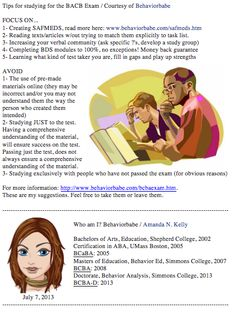 Tips for Studying for the BCBA Exam courtesy of Behaviorbabe (7/7/2013)
