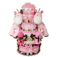 Twin Girls Jungle Giraffes Diaper Cake - $189.00 : Diaper Cakes Mall, Unique Baby shower diaper cake