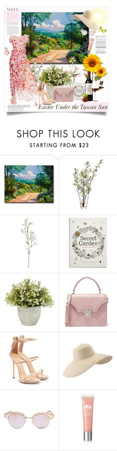 """""""Easter in Tuscany"""" by alexandrazeres ❤ liked on Polyvore featuring Trademark Fine Art, LSA International, OKA, Monique Lhuillier, Chronicle Books, Alexander McQueen, Giuseppe Zanotti, Eric Javits, Le Specs and Origins"""