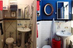 via a cup of jo Wood Panel Bathroom, Bathroom Floor Tiles, Tile Floor, White Wood Paneling, Ideas Para Organizar, Nautical Bathrooms, Tile Patterns, Home Staging, Mirror