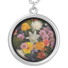 #Bouquet: #roses , #mums , #lily , #irises , #dahlias personalized necklace...#necklaces #jewelry #roses #flowers #floral #colorful #RoseSantuciSofranko #Artist4God #RosesRoses #Zazzle #accessories #customizable  #blooms #blossoms #buds #nature #petals #photography #forsale #pendants