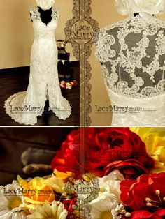 Transparent Lace Back Wedding Dress with a Deep Slit by LaceMarry