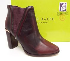 TED BAKER THURYN Dark Red Leather Ankle Boot 7