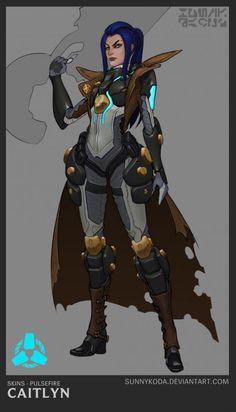 Pulsefire Caitlyn Concept by sunnykoda (1) HD Wallpaper Official Art Artwork League of Legends lol