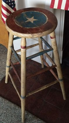 Vintage Antique Patriotic Wood Stool Primitive Red White Blue July 4th | eBay