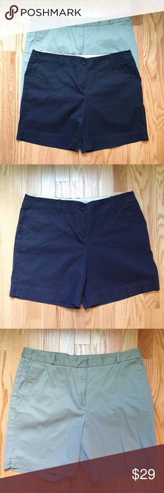 """Talbots Shorts Bundle Save big and only pay shipping once! #1 Navy Shorts size 12petite. Waist measures 17.5""""; length 15"""". #2 Green Khaki shorts size 12. Waist 17""""; length 16"""". Both shorts are 98% cotton 2% spandex. Both in EUC with no signs of wear. Secure your summer wardrobe and save big with this great bundle deal! Talbots Shorts"""