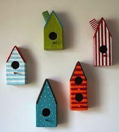 Casitas para pájaros hechas en papel maché / Papier mache bird houses