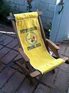 Vintage NFL Pittsburgh Steelers Wood Beach Folding Canvas Deck Lawn Chair |  EBay