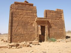 Naqa or Naga'a (Arabic: ‏النقعة‎ an-Naqʿa) is a ruined ancient city of the Kushitic Kingdom of Meroë in modern-day Sudan. The ancient city lies about 170 kilometers north-east of Khartoum and about 50 kilometers east of the Nile River. The site has two notable temples, one devoted to Amun and the other to Apedemak which also has a Roman kiosk nearby.