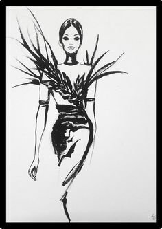 Glamorous Fashionillustration inspired by the Haute Couture Fashion of Antonio Grimaldi. Painted with black ink illustrations couture Metallica, Ink Illustrations, Fashion Illustrations, Fashion Art, Fashion Design, Haute Couture Fashion, Acrylic Colors, Glamour, Watercolor