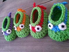 Crochet Teenage Mutant Ninja Turtles Baby booties by NewArrivalsByStef, $10.00 @cherylsh
