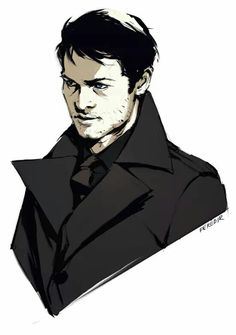 legendary-destiel: feredir: some cas in black. Supernatural Drawings, Supernatural Fan Art, Dean And Castiel, Boy Pictures, Destiel, Johnlock, Super Natural, Misha Collins, Disney Fan Art