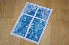 zimní okno koláž školka