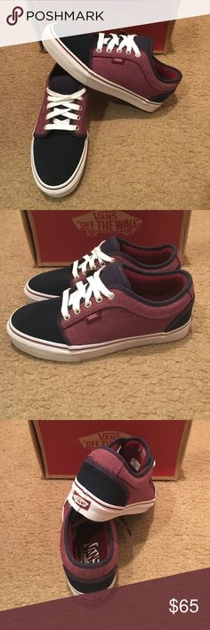 Oxford Chukka Low Vans New in box. Navy/port. Men's 7 women's 8.5 Vans Shoes Sneakers