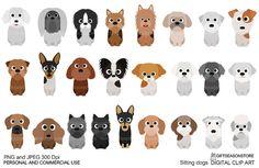 Sentado perros parte 3 digital imágenes por Giftseasonstore en Etsy