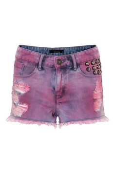 Pink Acid-Wash High-Waist Denim Shorts