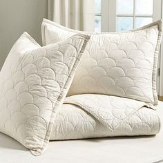 Cora Scalloped Quilt Neutral Bedding, Baby Mermaid, Fish Scales, Ballard Designs, Bed & Bath, Bed Pillows, Pillow Cases, Contrast, Warm