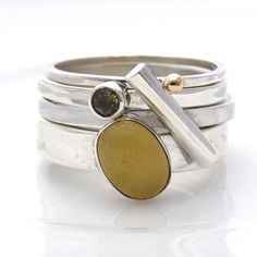 Amazing silver stacking ring with aragonite and citrine stones along with some silver and gold accents - the mamma of stackers! www.soremi-jewellery.co.uk
