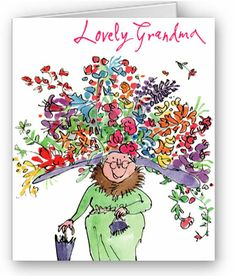 New Format Quentin Blake Lovely Grandma Quentin Blake Illustrations, Illustrations Posters, Children's Book Illustration, Graphic Design Illustration, People Illustration, Grandmother Birthday, Roald Dahl, Birthday Greeting Cards, Drawing For Kids