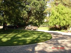 Circular driveway - where the cars are parked is technically where the house would be.
