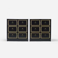 Dorothy Draper  - Pair of Cabinets   lacquered and gilt wood, enameled aluminum