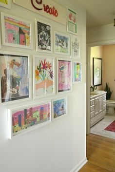 Kids artwork gallery wall art room wallpaper home improvement shows near me ways to display frames Displaying Kids Artwork, Artwork Display, Display Kids Art, Childrens Art Display, Art Wall Kids Display, Kid Wall Art, Artwork Wall, Kids Art Galleries, Wall Galleries