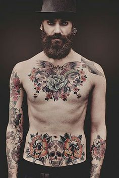 What a beautiful beast ! <3 <3 full thick dark beard and mustache beards bearded man men tattooed tattoos stomach chest mens' style handsome #beardsforever