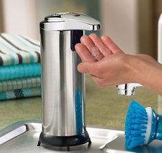 12.79$  Watch now - http://ali9xc.shopchina.info/go.php?t=32620069040 - Hot sale 1pcs Handsfree Automatic IR Sensor Stainless Steel Touchless Liquid Soap Dispenser  #magazineonline