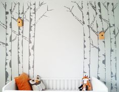 if you go down to the wood's today......(tutorial on how to paint birch tree mural)