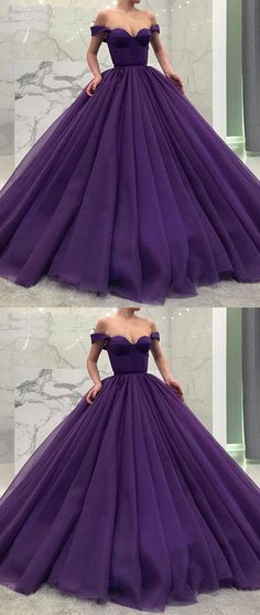 PURPLE TULLE OFF SHOULDER LONG PROM GOWN, TULLE EVENING DRESS M2230