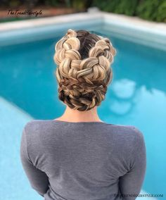 Braided Updo - 20 Easy Party Hairstyles for Long Hair - The Trending Hairstyle Party Hairstyles For Long Hair, Bride Hairstyles, Cool Hairstyles, Medium Hair Styles, Natural Hair Styles, Short Hair Styles, Cornrows, Dreadlocks, Braided Hairstyles Tutorials