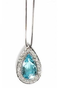 Pendente de ouro branco com diamantes e turmalina paraíba de Ara Vartanian (R$…
