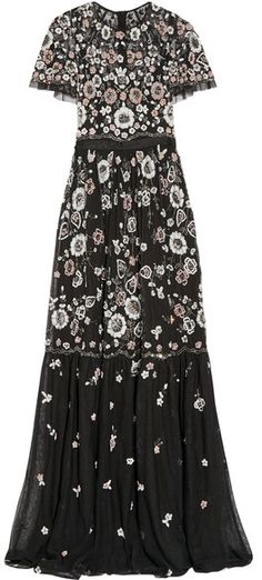 Needle & Thread - Petal Embellished Tulle Gown - Black
