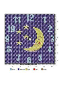 Good night moon clock in plastic canvas. Plastic Canvas Crafts, Plastic Canvas Patterns, Moon Clock, Clock Craft, Wall Canvas, Yarn Crafts, Cross Stitching, Needlepoint, Cross Stitch Patterns
