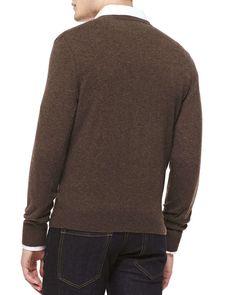 Cashmere V-Neck Sweater, Brown