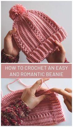 How to Crochet an Easy and Romantic Beanie Stricken ist so einfach wie 1 2 3 Crochet Adult Hat, Bonnet Crochet, Crochet Beret, Crochet Diy, Crochet Beanie Pattern, Crochet Scarves, Crochet Hooks, Knitted Hats, Crochet Stitch