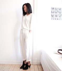 The pants ! Vanilla Scented  ultimate all white inspo with chic black booties