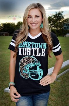 Hometown Hustle Tee Shirt Crazy Train Clothing is trendy, affordable, super cute & now available at Western Soul! Get your favorite style today! Western Outfits Women, Western Wear For Women, Football Mom Shirts, Football Moms, Football Season, Sports Shirts, Football Drills, Football Players, Crazy Train Clothing
